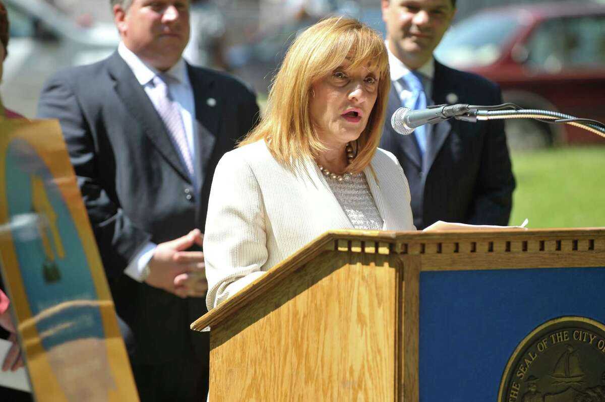 New York State Office of Alcoholism and Substance Abuse Services Commissioner Arlene Gonzalez-Sanchez addresses those gathered for a press event held by State and local officials to discuss the health risks and dangers of underage drinking, on Wednesday, June 10, 2015, in Albany, N.Y. (Paul Buckowski / Times Union archive)
