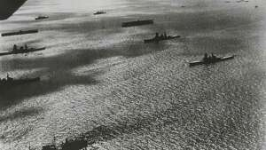 Original caption reads: Yokohama, Japan... Part of the Japanese navy which took part in a review by Emperor Hirohito off Yokohama recently. Some of the two hundred planes that roared overhead during the review can be seen in this picture. November 5, 1940