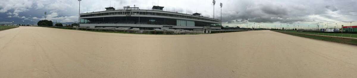 A panoramic view of an empty Sam Houston Race Park is seen, Tuesday, Sept. 1, 2015, in Houston. Sam Houston Race Park received notice from the Texas Racing Commission that it was ceasing operations. The letter from the Commission went on to rescind Sam Houston Race Park's ability to import simulcast wagering, live racing and exporting of live signals at midnight, August 31, 2015.