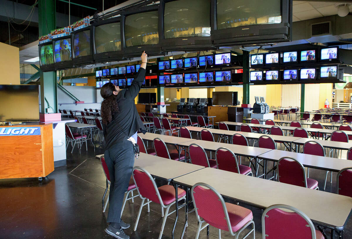 Employees were at work Tuesday at Sam Houston Race Park, which was open to visitors but not for racing.