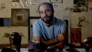 """Artist David Granitz will be featured at a show at Finder's Fayre, opening Thursday, September 3 in conjunction with First Thursday on Calder. Granitz' space in the Art Studio is filled with the drawings, paintings, sculpture and ceramics that will be included in his exhibit titled """"Mutabulis.""""  Photo taken Wednesday, August 26, 2015 Kim Brent/The Enterprise"""