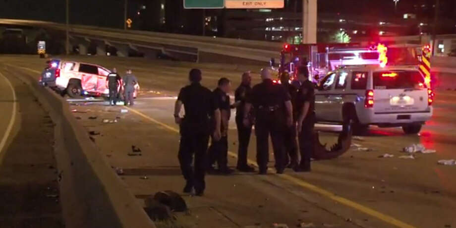 A deputy was injured in a hit-and-run crash early Wednesday morning on Interstate 45 in north Houston. Photo: Metro Video