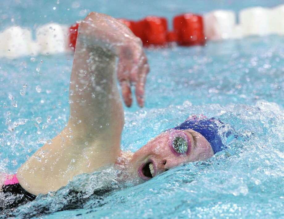 Amelia Bullock of Staples during the 200 IM event that she won during the FCIAC Girls High School Swimming Championship at Greenwich High School, Greenwich, Conn., Thursday, Oct. 30, 2014. Darien won the meet taking  the championship over New Canaan, the second place finisher. Photo: Bob Luckey / Bob Luckey / Greenwich Time