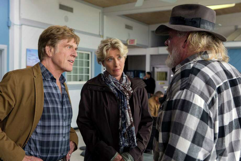 "This photo provided by Broad Green Pictures shows, Robert Redford, from left, as Bill Bryson, Emma Thompson as Cynthia Bryson and Nick Nolte as Stephen Katz in the film, ""A Walk in the Woods."" The movie releases in U.S. theaters on Sept. 2, 2015. (Frank Masi, SMPSP/Broad Green Pictures via AP) Photo: Frank Masi, SMPSP, HONS / Broad Green Pictures"