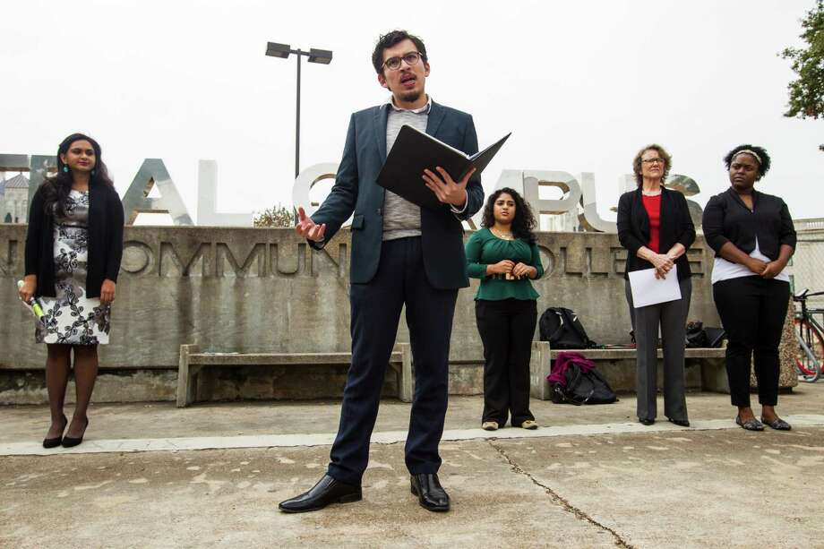 Jose Sanchez, of the Young Invincibles, speaks about the Affordable Care Act during a news conference at Houston Community College on Wednesday, Dec. 3, 2014. ( Brett Coomer / Houston Chronicle ) Photo: Brett Coomer, Staff / © 2014 Houston Chronicle