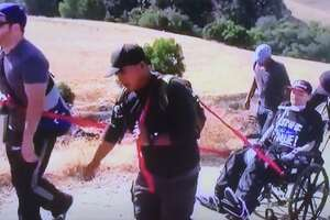 Friends carry wheelchair-bound man up 2,516 foot Mission Peak - Photo