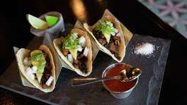Taco al Pastor- marinated pork topped with roasted pineapples, onion, cilantro, corn or flour tortilla at La Bikina a new Mexican food restaurant in The Woodlands, TX at 4223 Research Forest Dr. #100, Thursday August 21, 2014.