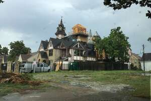 Spooky, castle-like house under construction in Houston-area neighborhood - Photo