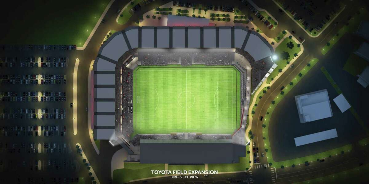 An overhead view of the proposed Toyota Field expansion. The cost to expand Toyota Field is estimated at $38-45 million and the expansion calls for the addition of 10,000 seats to the existing 8,000, with 9,000 of the new seats on a new upper tier.