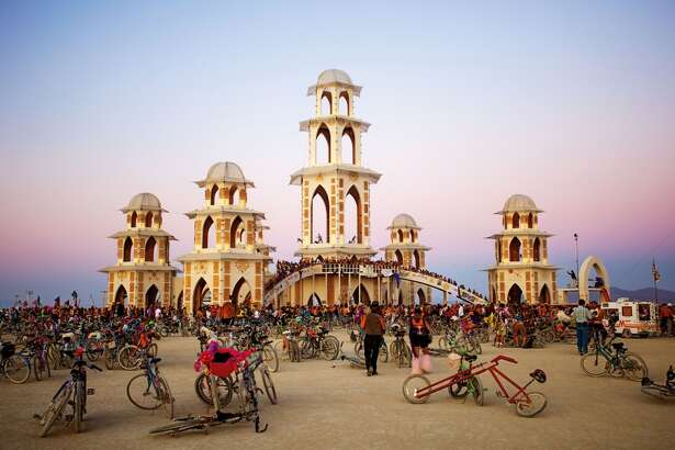 The Temple of Transition, 2011. Artists: David Best and the Temple Crew. The structure is believed to have been the largest wooden structure ever built without a foundation. The Burning Man temples are memorial sites for remembrance and mourning and are burned at the end of the event.
