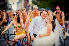 When Philadelphia couple Blair Delson and Ross Cohen learned their wedding day fell on the same date as the Philly Naked Bike Ride, they embraced the timing and took photos with the nude cyclists. Photographer Joe Gidjunis,  owner of JPG Photography , shared the surprising wedding pics, noting that the images have been altered to blur and darken cases of full frontal nudity.