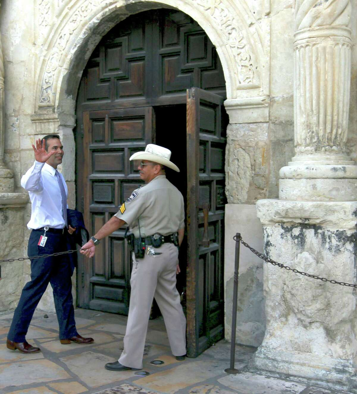 Texas Land Commissioner George P. Bush enters the Alamo on Sept. 2 while on a tour of the grounds.