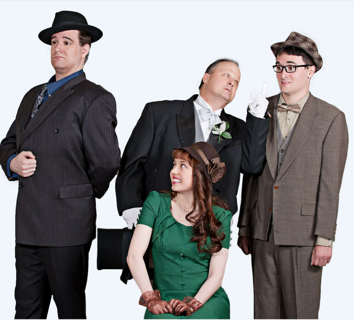 """The cast of """"Lend Me a Tenor"""" includes, from left, Justin Finch (Tito Merelli), Kristen Malisewski (Maggie), Richard Hahn (Saunders), and Jordan O'Neal (Max). """"Lend Me a Tenor"""" is coming to the Houston Family Arts Center stage Sept. 4-27."""