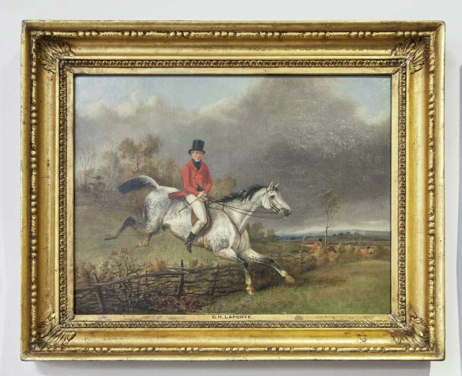 """""""Master of the Buckhounds,"""" an English oil painting by Henry Laporte will be offered by Antiques of River Oaks at the fall HAADS show."""