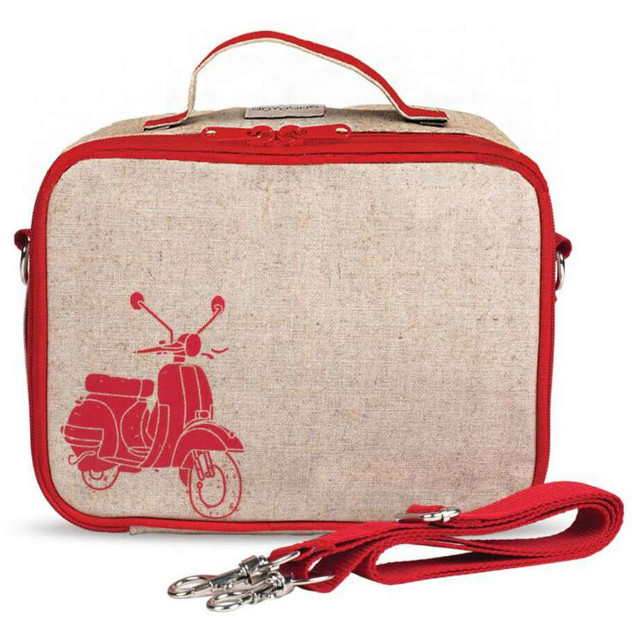 Sometimes a better lunch starts with the lunchbox; here, the vintage-style linen Red Scooter Lunch Box comes with a strap for wearing as a messenger bag. (SoYoung.) ORG XMIT: MER2015081313293585 Photo: HANDOUT / THE WASHINGTON POST