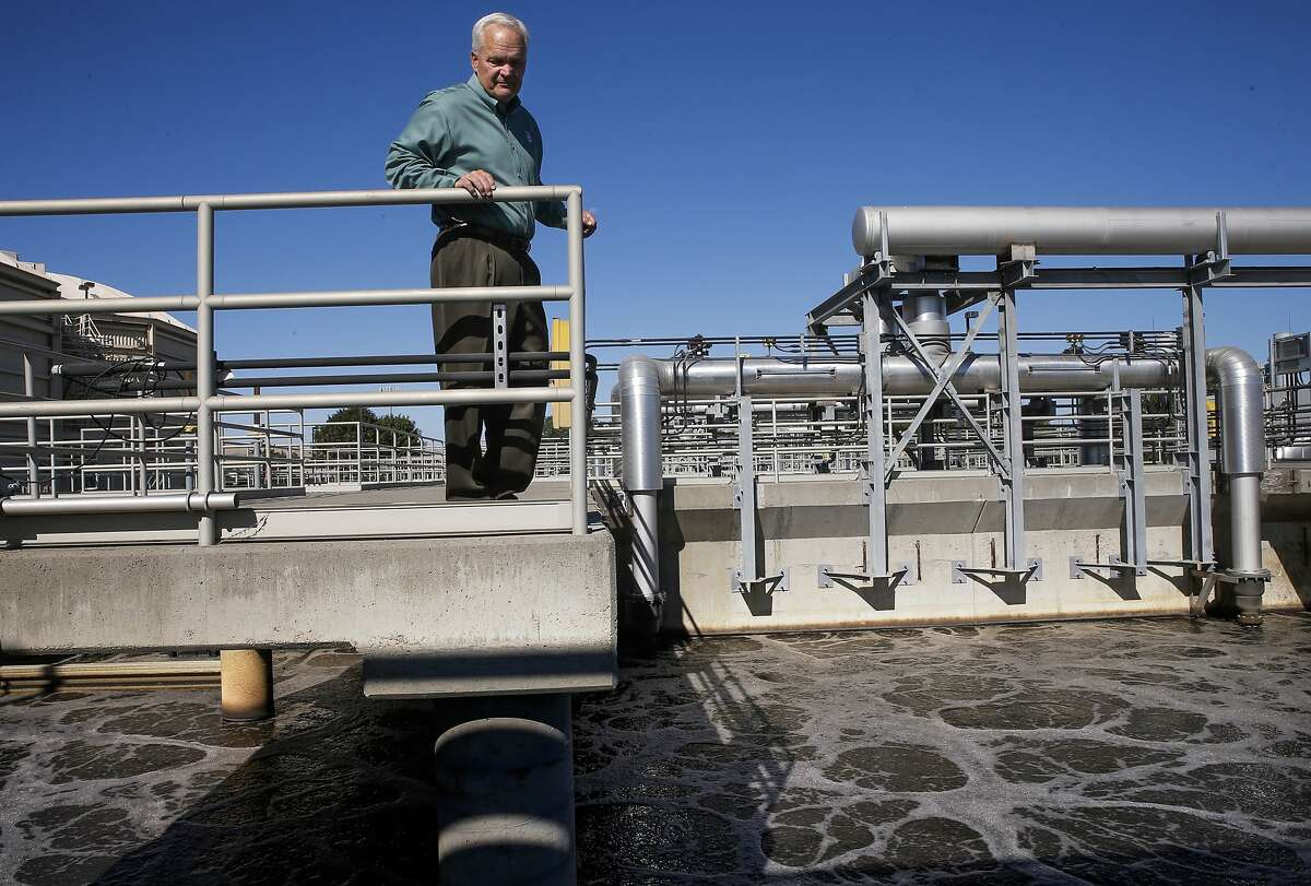 General manager Gary Darling, above the aeration tanks where the cleaning process begins at the Delta Diablo water district recycling plant, on Wed. September 2, 2015, in Antioch, Calif., where 13 million gallons of water is processed a day.