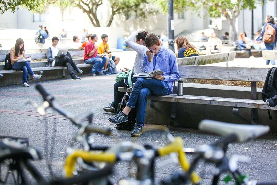 Ross Mattheis studies on a bench on the Berkeley campus in Berkeley, California, on Wednesday, Sept. 2, 2015. Photo: Gabrielle Lurie, Special To The Chronicle