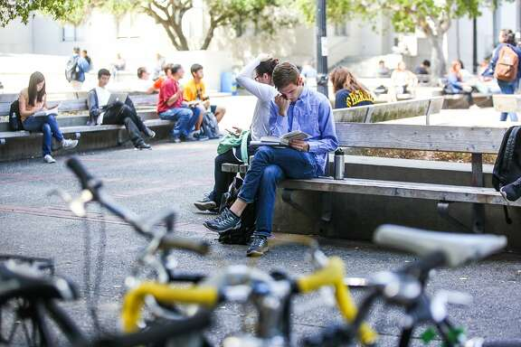 Ross Mattheis studies on a bench on the Berkeley campus in Berkeley, California, on Wednesday, Sept. 2, 2015.
