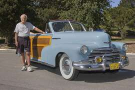 Photographs of Jim Ashworth and his 1947 Chevrolet Woodie Convertible Coupe taken June 4, 2015 in Rossmoor, Walnut Creek, CA taken June 4, 2015