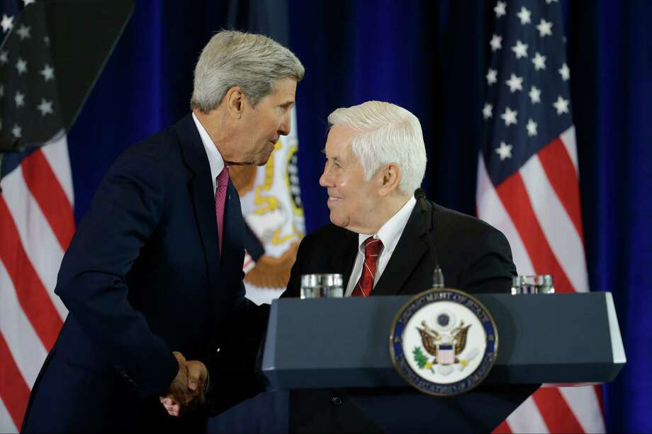 Former GOP Senator Richard Lugar, right, and Secretary of State John Kerry shake hands before Kerry's speech in support of the Iran nuclear deal at the National Constitution Center, Wednesday, Sept. 2, 2015, in Philadelphia. (AP Photo/Matt Slocum) Photo: Matt Slocum, STF / Associated Press / AP