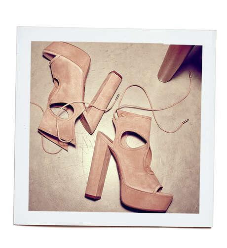 Aquazzura nude suede chunky heeled platform, $715, Neiman Marcus. Photo: Courtesy Neiman Marcus