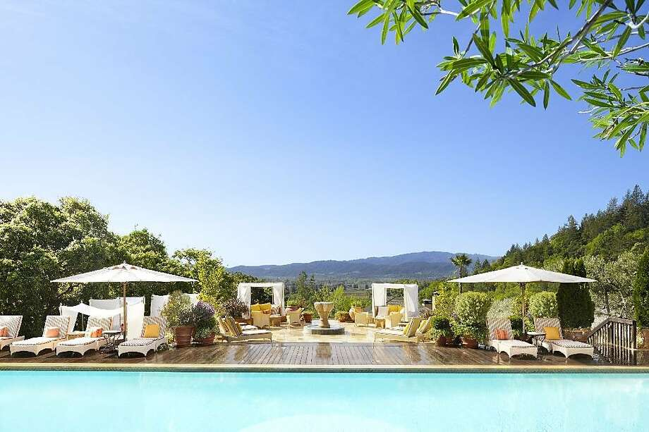 At the pool at Auberge du Soleil, tucked into a Napa Valley hillside. Photo: Trinette Reed Photography