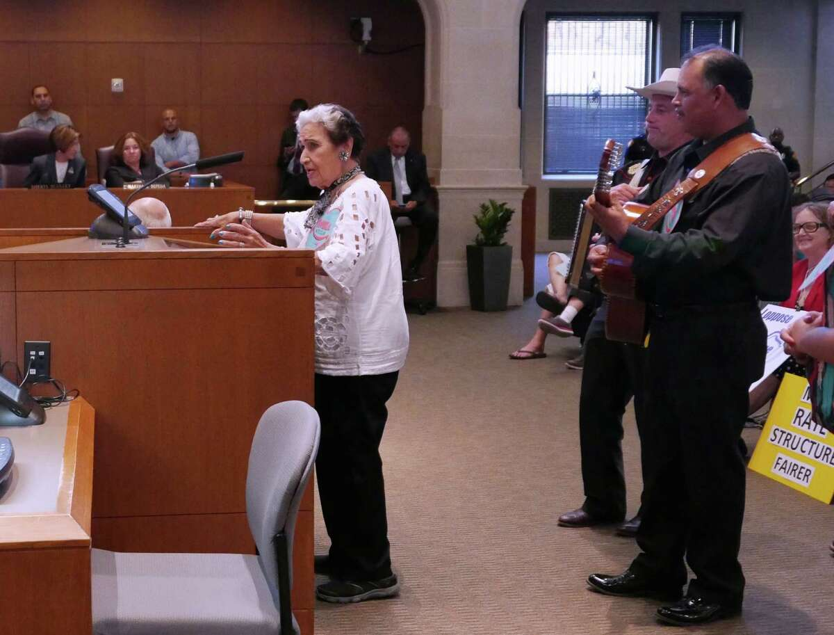San Antonio music legend Rita Vidaurri sings with musicians Oscar Garcia and Mark Weber in support of Lerma's Nite Club during City Council's last budget meeting of the year on Wednesday, September 2, 2015. Supporters of the old venue in West San Antonio want the city to allocate funding to rehabilitate the structure because of its cultural and historic value. Members of the Texas Organizing Project, SEIU Texas, Esperanza Peace & Justice Center, Southwest Workers Union and West End Hope In Action Organization held a rally outside Council chambers prior to the meeting to advocate for funding for street lights, sidewalks, roads, drainage, and home rehabilitation.
