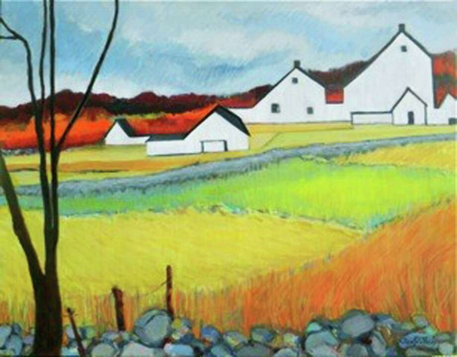 "'Journeys' Marty's Café in Washington will present an exhibit, ""Journeys,"" Sept. 20-30, as well as a reception Sept. 12 from 2 to 4 p.m. The exhibit will features recent paintings by longtime Roxbury resident Susan Gold Purdy, whose ""White Barns, Merryall,"" an oil on canvas, is shown above. The exhibit may be seen Mondays through Sundays from 7 a.m. to 5 p.m. at the 6 Green Hill Road café. For more information, call 860-868-1700. Photo: Courtesy Of Marty's Café / The News-Times Contributed"