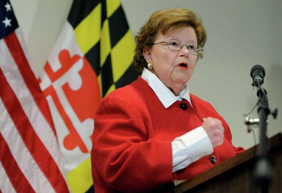 FILE - In this March 2, 2015 file photo, Sen. Barbara Mikulski, D-Md., the longest-serving woman in the history of Congress, speaks during a news conference in Baltimore.  Senate Democrats have rallied the 34 votes they need to keep the Iran nuclear deal alive in Congress, handing President Barack Obama a major foreign policy victory.   Mikulski became the crucial 34th vote Wednesday morning, declaring the agreement is the best way to curb Iran's nuclear ambitions.  (AP Photo/Steve Ruark) ORG XMIT: WX201 Photo: Steve Ruark / FR96543 AP