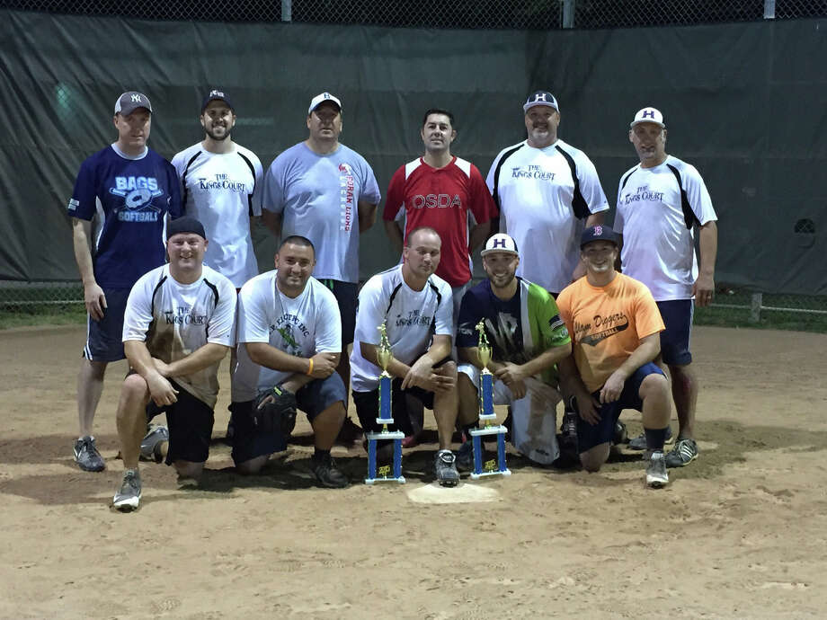 The King's Court of Milford recently won its third straight Milford League softball title, defeating Spacecraft 31-17 in the finals. Team members include, front row, from left,  Mike Kimberly, Omar Resto, Roy Williams, Eric Defeo and Ryan Defeo; standing, Kevin Mctigue, Tim Berkley, Mike Piroh, Tim Senft, Marc Mitchell and Pete Rodrigues. Photo: Contributed / Contributed Photo / Connecticut Post Contributed