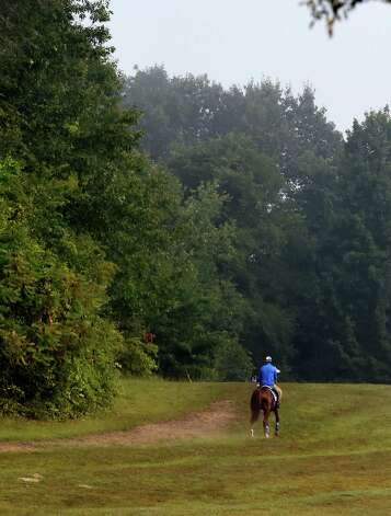 A horse trained by John Shirreffs exercises on the gallop near the Oklahoma Training Center Wednesday Sept. 2, 2015  in Saratoga Springs, N.Y.    (Skip Dickstein/Times Union) Photo: SKIP DICKSTEIN
