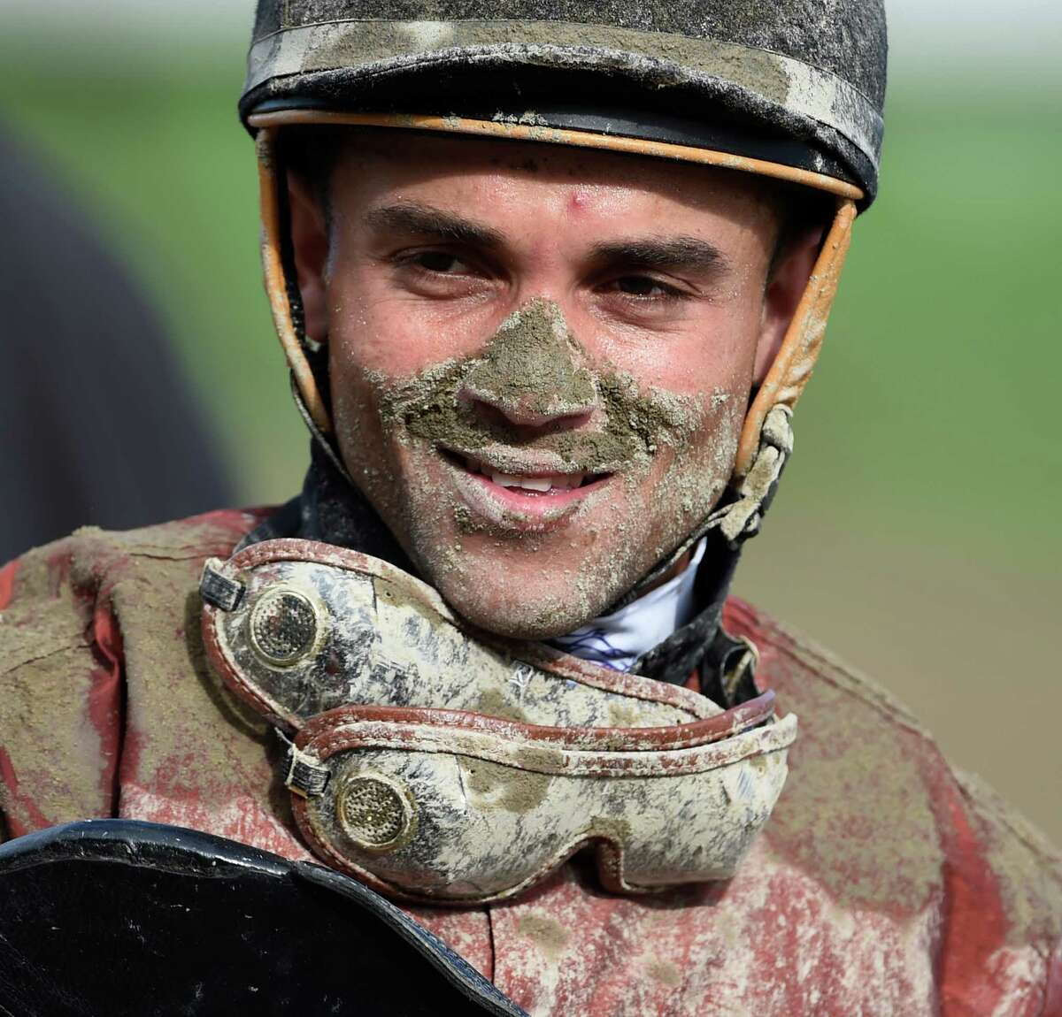 Jockey Joel Rosario shows the signs of trailing the field in the 8th race on the card at the Saratoga Race Course Thursday afternoon Aug. 20, 2015. With the weather forecast calling for heavy rains over night the racing patrons might be seeing a lot of this tomorrow. (Skip Dickstein/Times Union)