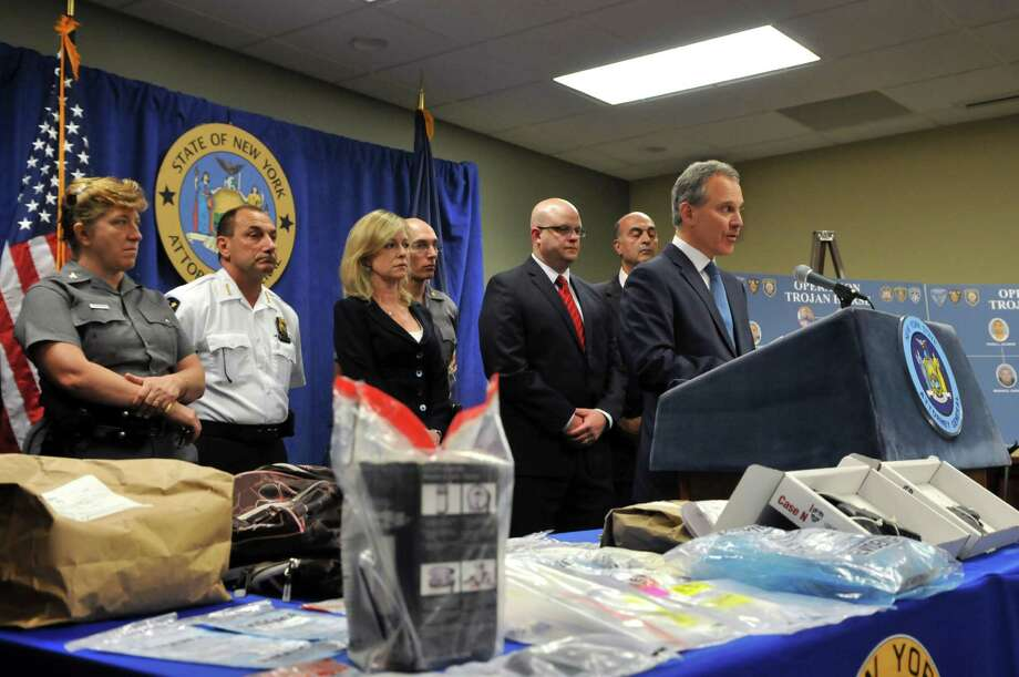 "Attorney General Eric Schneiderman speaks during a press conference about ""Operation Trojan Horse"" drug bust on Tuesday, August 4, 2015, at The New York State Police Academy in Albany, N.Y. (Phoebe Sheehan/Special to The Times Union) Photo: PS / 10032893A"