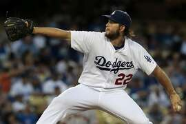 Los Angeles Dodgers pitcher Clayton Kershaw works against the San Francisco Giants at Dodger Stadium in Los Angeles on Wednesday, Sept. 2, 2015. (Robert Gauthier/Los Angeles Times/TNS)