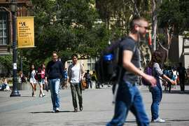 Crowds of students walk to class on the Berkeley campus in Berkeley, California, on Wednesday, Sept. 2, 2015.
