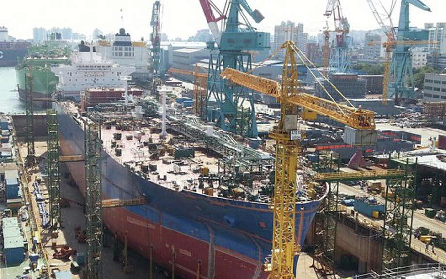 A Dorian LPG tanker nears completion at South Korea's Hyundai Samho Heavy Industries.