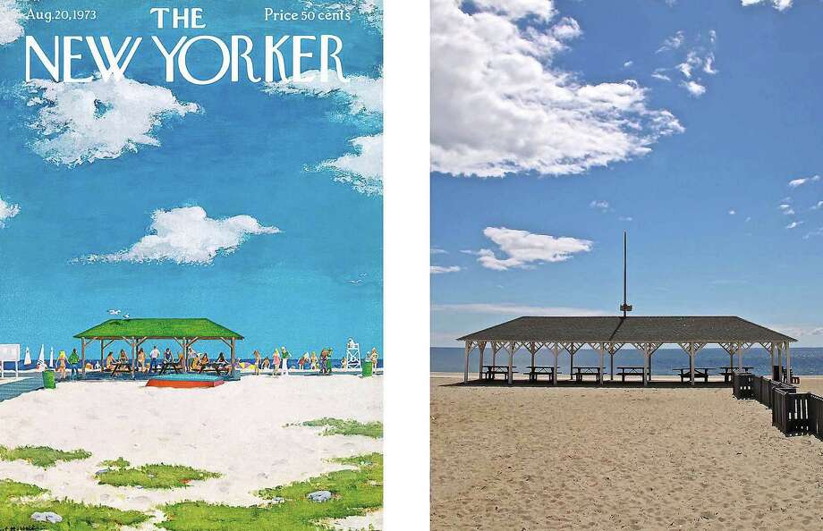 """Talk of the Town,"" a new exhibit of covers from The New Yorker magazine and photos of Westport scenes that inspired them, will open Sept. 25 at the Westport Hiistorical Society. Here, a rendering of the Compo Beach pavilion by painted by Alex Hubbell, at left, and a photo of the same setting by Michael Goss. Photo: Contributed / Contributed Photo / Westport News"