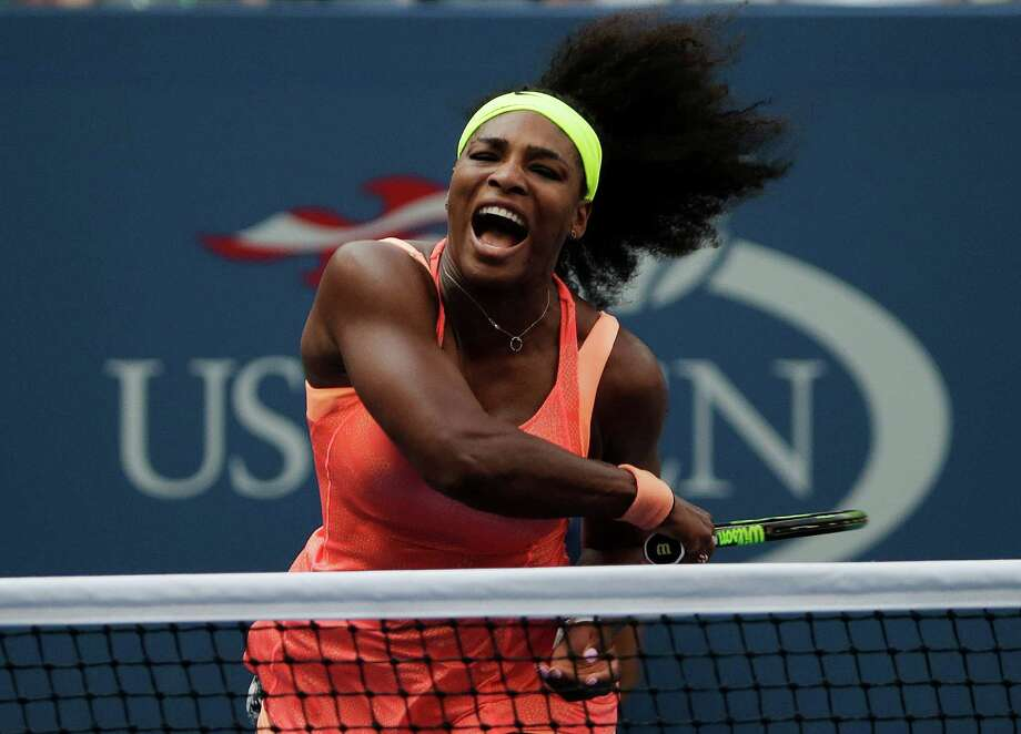 Serena Williams follows through as she returns a shot to Kiki Bertens, of the Netherlands, during the second round of the U.S. Open tennis tournament, Wednesday, Sept. 2, 2015, in New York. (AP Photo/Charles Krupa) Photo: Charles Krupa, STF / AP