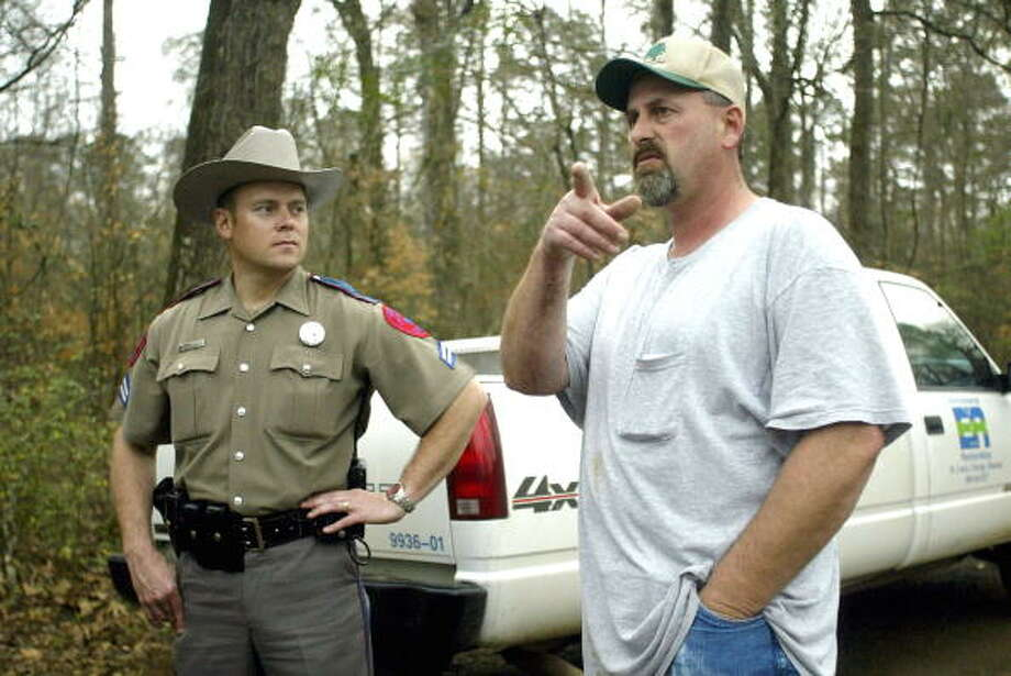 Nathan Ener drew attention for a video rant he posted Tuesday on Facebook, calling on viewers to attack black activists.In this photo, Ener (R) speaks with a Texas police officer after he discovered what is believed to be the nose of the space shuttle Columbia February 3, 2003 in Hemphill, Texas. Ener also uncovered a windshield, tiles, and pedals near his home in Hemphill. (Photo by Ronald Martinez/Getty Images) / 2003 Getty Images