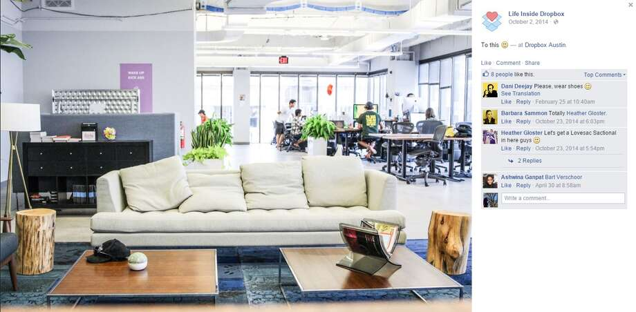 Dropbox Austin's offices include a cafe, an outdoor patio and a gym. Photo: Facebook Screenshots