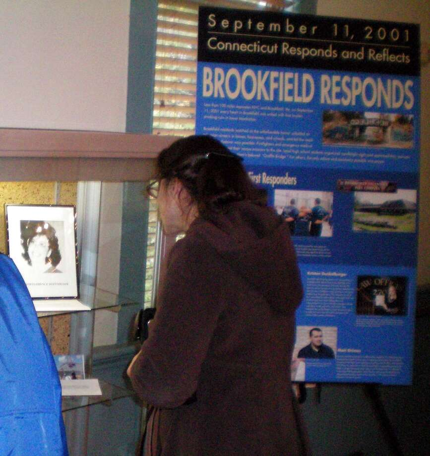 Someone views the Sept. 11, 2001 exhibit at the Brookfield Museum. Photo: Brookfield Historical Society