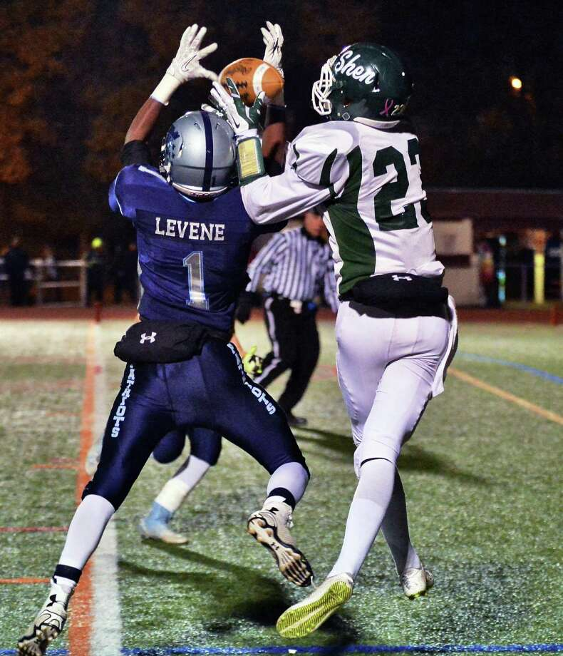 Shen's #23 Ryan Van Galen, right, catches  a Ryan Van Galen TD pass during the Class AA quarterfinal football game against John Jay-East Fishkill at Dietz Stadium Saturday Nov. 15, 2014, in Kingston, NY.   (John Carl D'Annibale / Times Union) Photo: John Carl D'Annibale / 00029472A