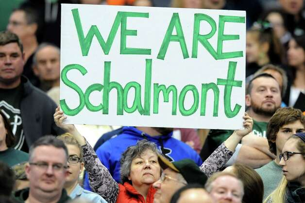 A Schalmont fan shows team pride during their Class B state football final against Maine-Endwell on Sunday Nov. 30, 2014, at the Carrier Dome in Syracuse, N.Y. (Cindy Schultz / Times Union) Photo: Cindy Schultz / 00029662A
