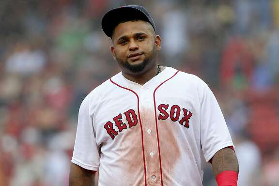 Boston Red Sox third baseman Pablo Sandoval during the ninth inning of a baseball game against the Kansas City Royals at Fenway Park in Boston Sunday, Aug. 23, 2015. (AP Photo/Winslow Townson)