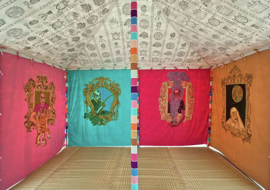 Francesco Clemente  Museum Tent, 2013 (interior view)   Tempera on cotton and mixed media  118 1/8 x 236 1/4 x 157 1/4 inches (300 x 600 x 400 cm)  Courtesy of the artist and Blain/Southern Gallery, Berlin     FOR PRESS  at MASS MoCA Photo: Studio Of Francesco Clemente / Studio of Francesco Clemente