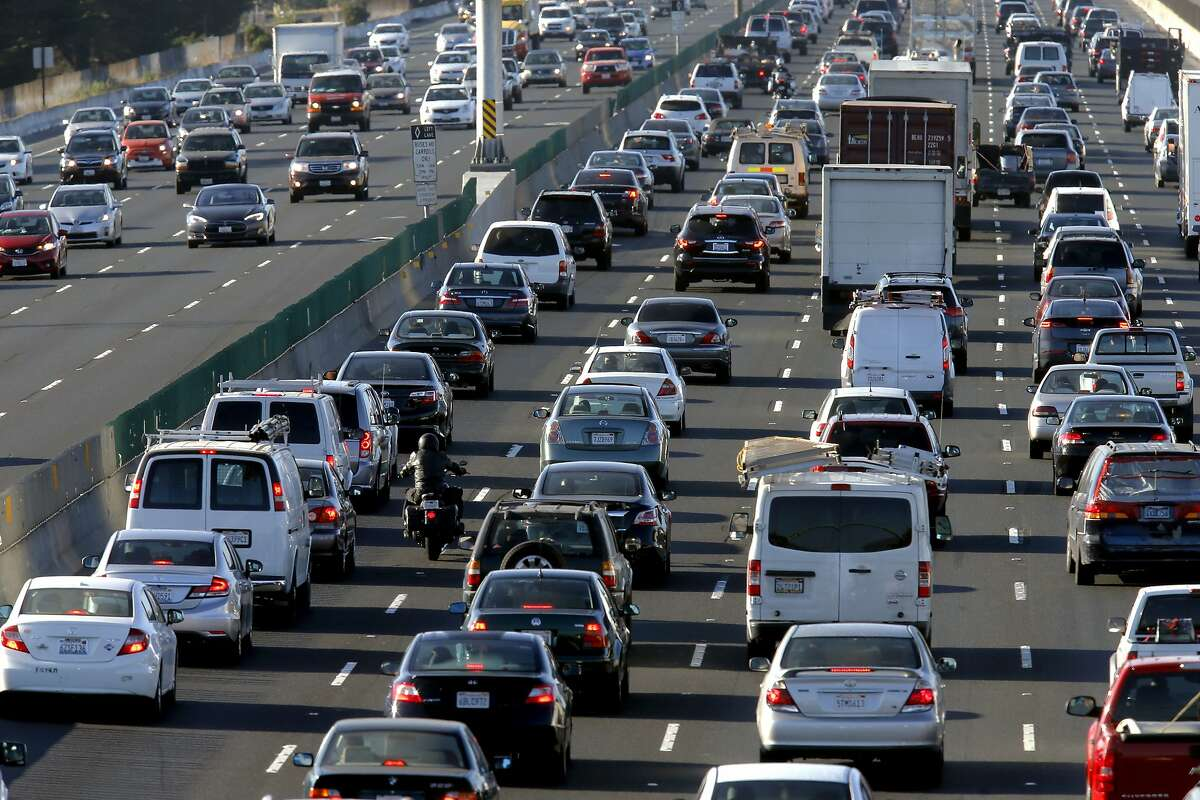 Heavy traffic on west bound I-80 to the approach to the Bay Bridge at University, in Berkeley, Calif. on Thurs. September 3, 2015. With gas prices low, travel is expected to be up, especially by car. Folks sticking around the Bay Area could encounter chaos, when BART will shut down the Transbay Tube for three days for repairs.