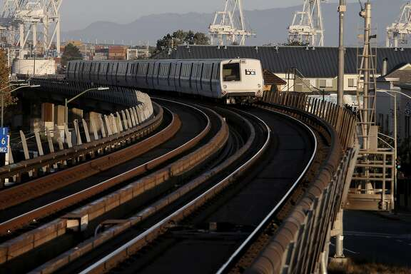 A San Francisco bound train pulls away from the West Oakland station, in Oakland, Calif. on Thurs. September 3, 2015. With gas prices low, travel is expected to be up, especially by car. Folks sticking around the Bay Area could also encounter chaos when BART will shut down the Transbay Tube for three days for repairs.