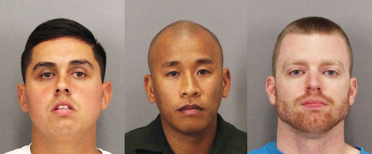 Rafael Rodriguez, left, Jereh Lubrin, center, and Matthew Farris, right, are the three Santa Clara County correctional officers accused of killing inmate Michael Tyree.