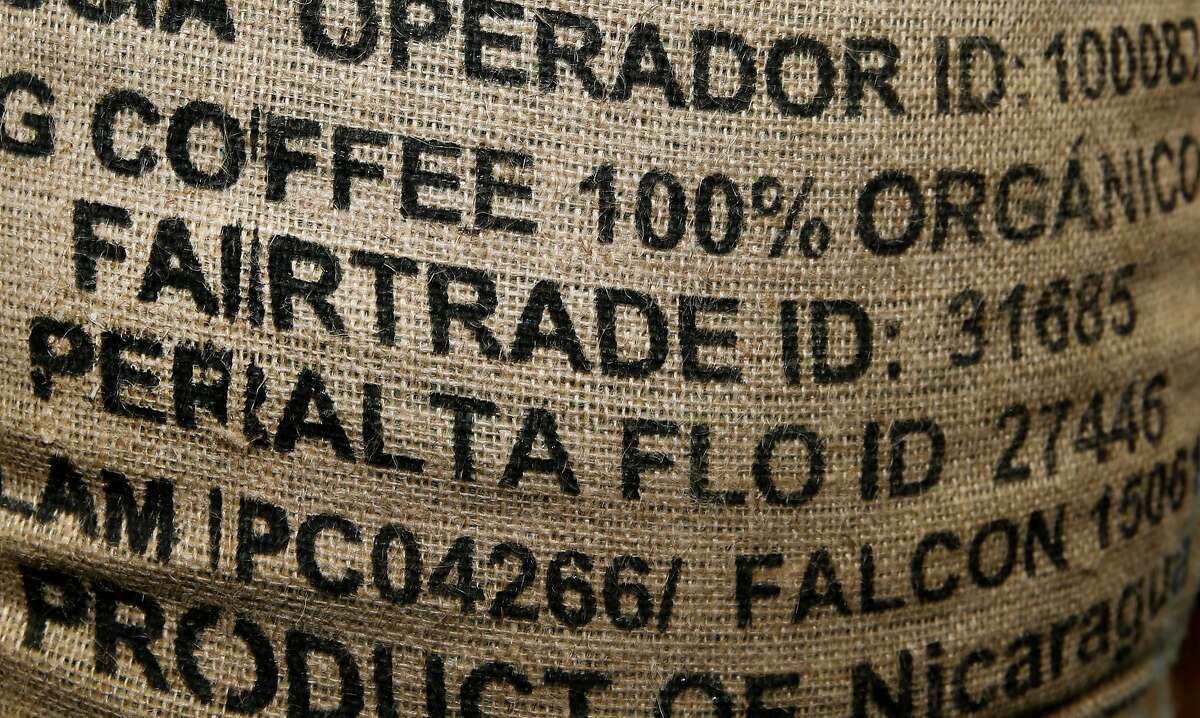 A bag of coffee from Nicaragua at Equator Coffee in San Rafael, which purchases about one third of its coffee from Fair Trade USA certified coffee growers.