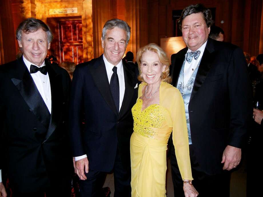 S.F. Opera trustee Charlotte Shultz, with her pals (from left) Richard Blum, Paul Pelosi and Opera Board Chairman John Gunn, was feted onstage by the organization in February 2014. Photo: Catherine Bigelow, Special To The Chronicle